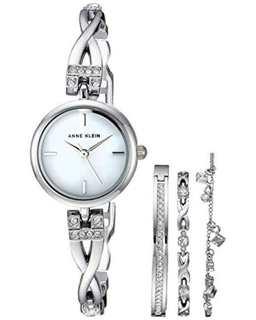 Anne Klein - Metallic Swarovski Crystal Accented Silver-tone Watch And Bracelet Set - Lyst