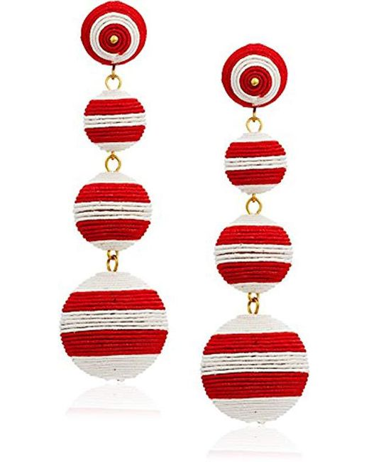 Kenneth Jay Lane - Red White Stripe Thread Matte Drop Earrings - Lyst