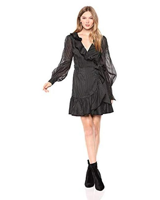 Keepsake - Black Young Hearts Long Sleeve Mini Wrap Dress With Ruffles - Lyst