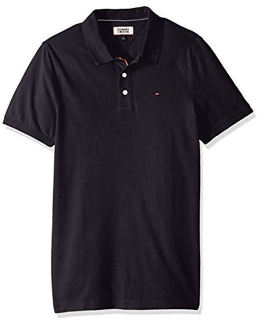 c19245ca Tommy Hilfiger - Black Polo Shirt Slim Fit Original Flag With Short Sleeves  for Men -