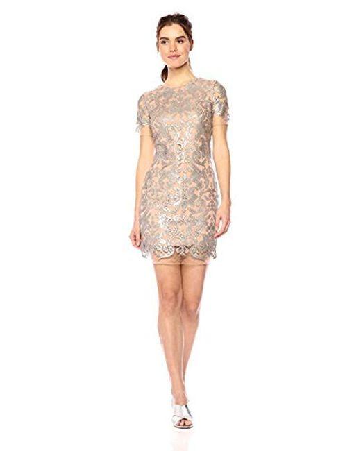Dress the Population - Natural Megan Short Sleeve Sequin Lace Mini Sheath Dress - Lyst