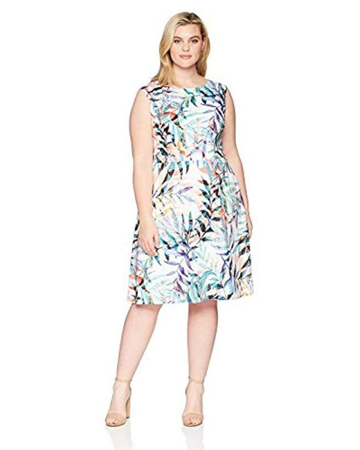 Adrianna Papell Blue Plus Watercolor Leaves Printed Fit And Flare Dress