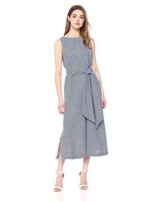 Anne Klein - Multicolor Midi Dress With Sash - Lyst