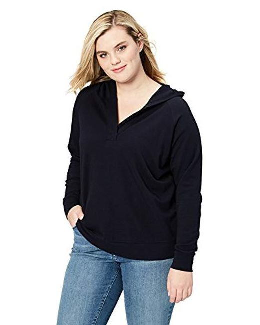 Daily Ritual - Blue Plus Size Cotton Modal Terry Hooded Henley - Lyst