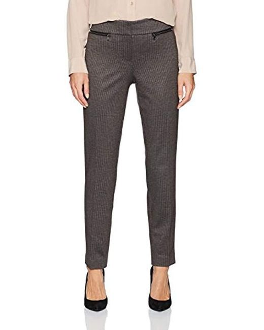 Nine West - Black Mini Houndstooth Pant With Zipper Pockets, - Lyst