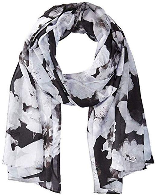 Calvin Klein - Gray Shadow Stripe Floral Scarf - Lyst