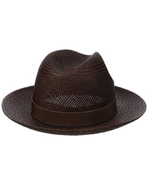 74c2ccaa26919 ... Hickey Freeman - Brown Straw Fedora Hat for Men - Lyst