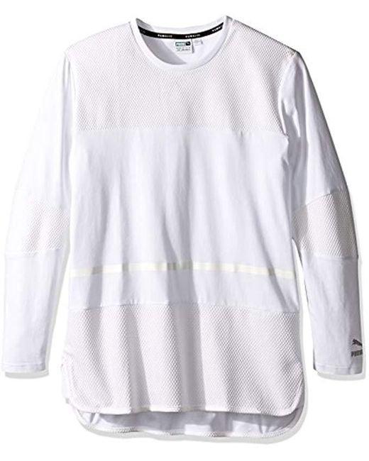 PUMA - White Evo Bball Long Sleeve Tee for Men - Lyst