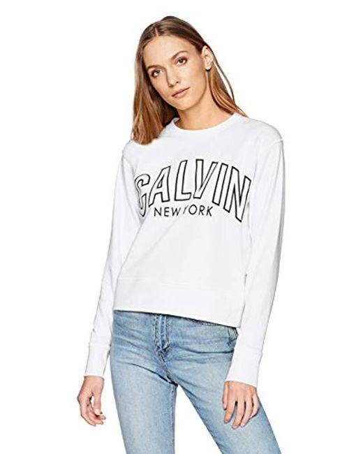 Calvin Klein White Flocked Logo Sweatshirt