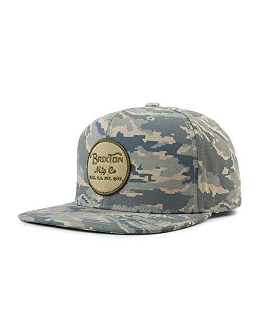 a46771ee55b Brixton - Green Wheeler Medium Profile Adjustable Snapback Hat for Men -  Lyst