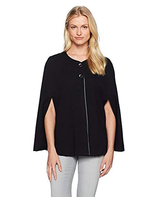 Nine West - Black Ponte Jacket With Leather Trim (2), - Lyst