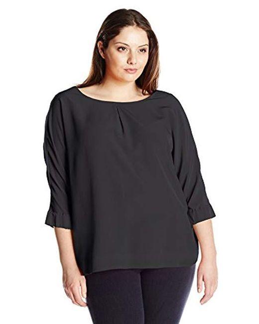 Calvin Klein - Black Plus-size Three Quarter-sleeve Crew-neck Blouse - Lyst