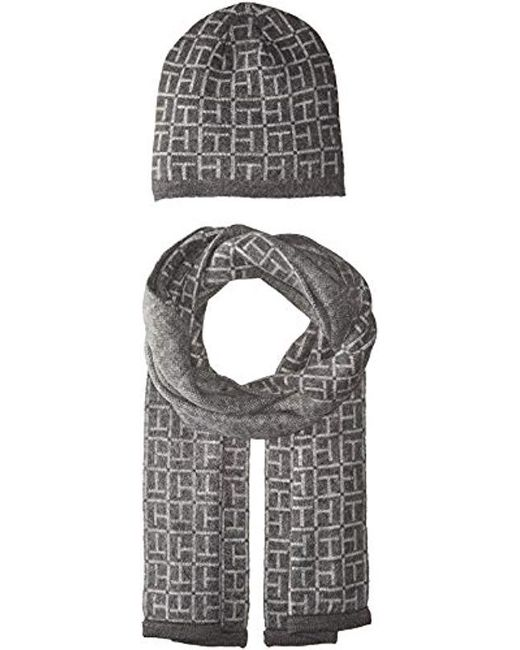 a83cba717c6fb Lyst - Tommy Hilfiger Border Logo Hat And Scarf Set in Gray - Save 52%