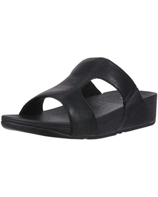 a8799685747 Lyst - Fitflop H-bar Shimmerlizard Sandal in Black - Save 33%