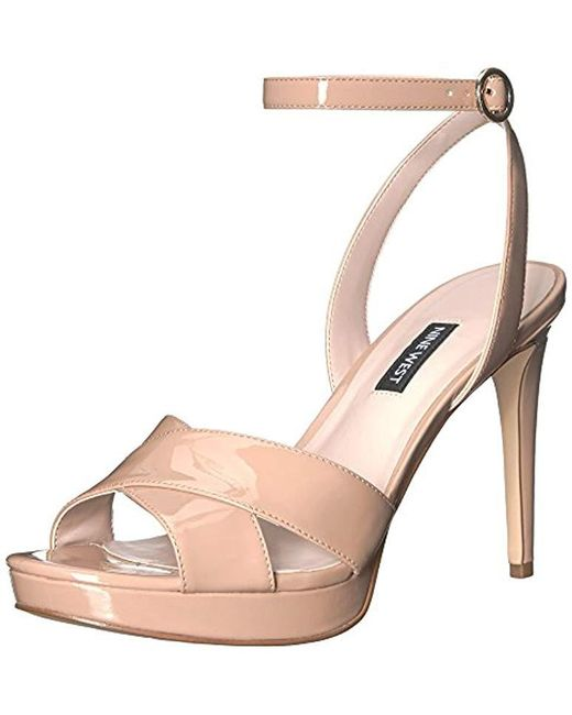 2804d663b65 Lyst - Nine West Quisha Synthetic Heeled Sandal in Natural - Save 55%