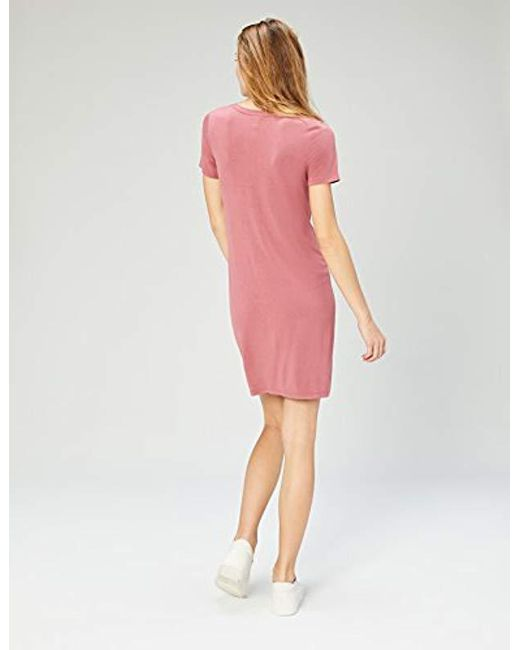 6e802048151 Lyst - Daily Ritual Jersey Short-sleeve V-neck T-shirt Dress in Pink