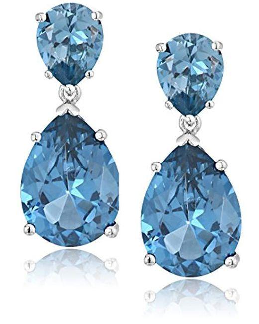 CZ by Kenneth Jay Lane - Blue Cubic Zirconia Double Pear Drop Earrings - Lyst