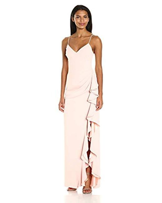 Badgley Mischka - Pink V-neck Ruffle Gown - Lyst