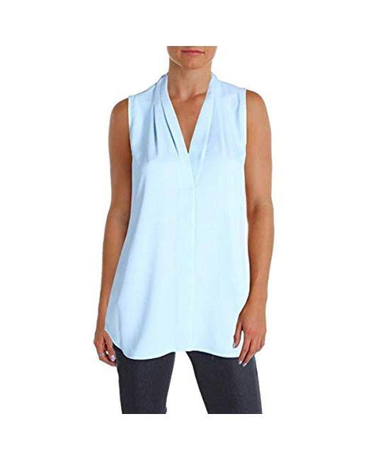 Calvin Klein - Blue Sleeveless Inverted Pleat Blouse - Lyst