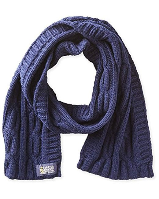 Nautica - Blue Solid Cable Scarf for Men - Lyst