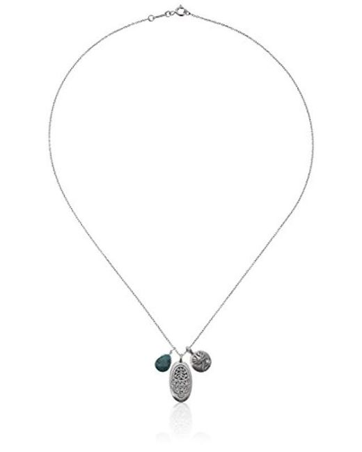 Satya Jewelry - Blue Classics Sterling Silver Turquoise Hamsa Lotus Necklace (18-inch) - Lyst