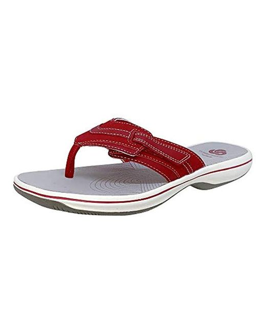 f852a7ee825a Lyst - Clarks Brinkley Reef Flip Flop in Red - Save 20%