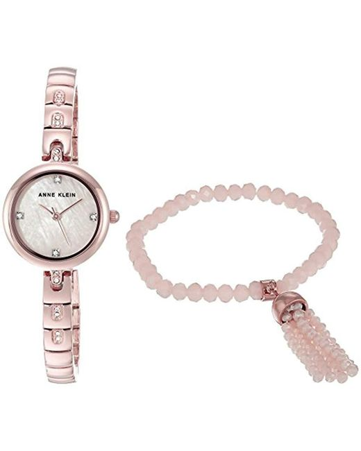 Anne Klein - Metallic Swarovski Crystal Accented Gold-tone Watch And Beaded Bracelet Set - Lyst