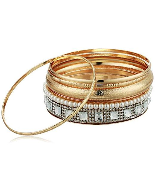 Guess - Metallic 6 Pc Bangle Set With Stones, Gold, One Size - Lyst