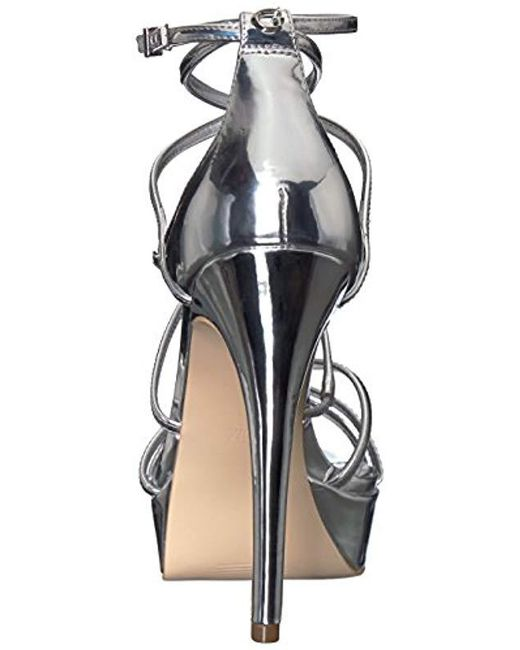 82cf53653b3 Lyst - Guess Kico Strappy Platform Heels in Metallic - Save 51%
