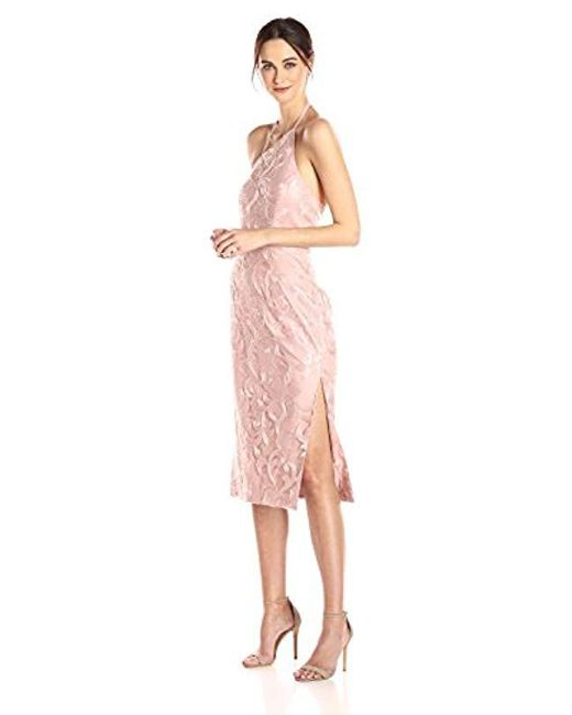 d376cce1305fb Vera Wang - Pink Sequins Halter Gown With Side Slits - Lyst ...