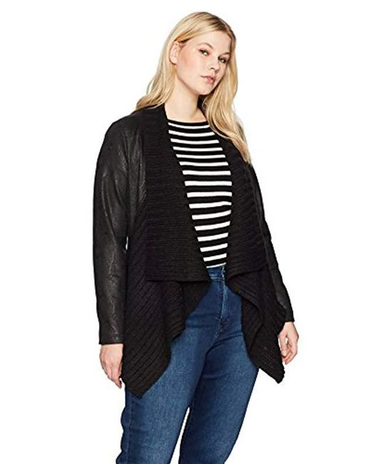 Jones New York - Black Plus Size Sweater Front Moto Jacket - Lyst