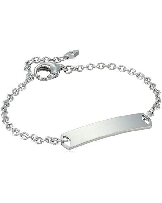 Fossil - Metallic Plaque Steel Bracelet, Color Silver - Lyst