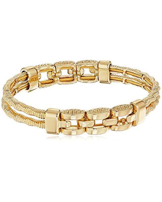 Napier - Metallic Gold-tone Textured Stretch Bracelet - Lyst