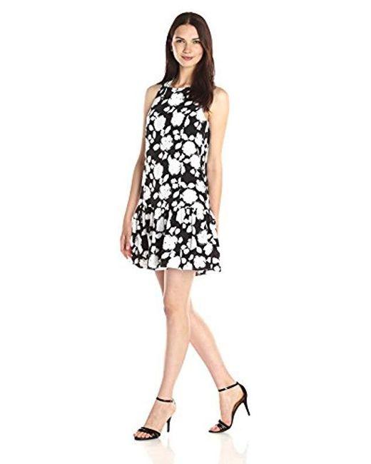 Kensie - Black Watercolor Roses Dress - Lyst