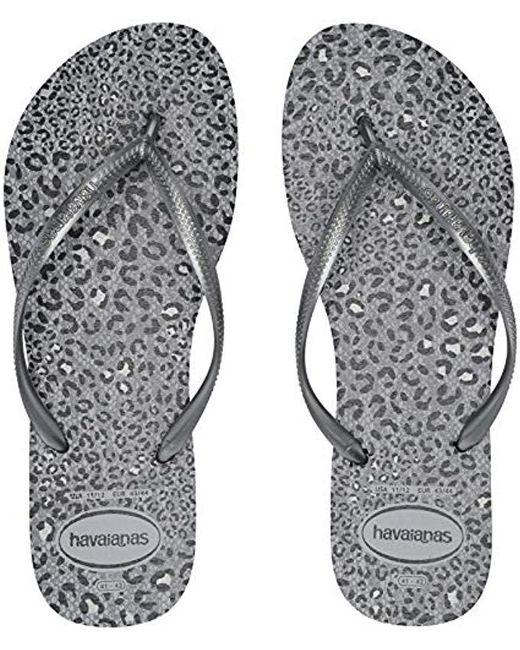 a47879ece245 Lyst - Havaianas Slim Animal Flip Flop Sandal in Gray - Save 18%