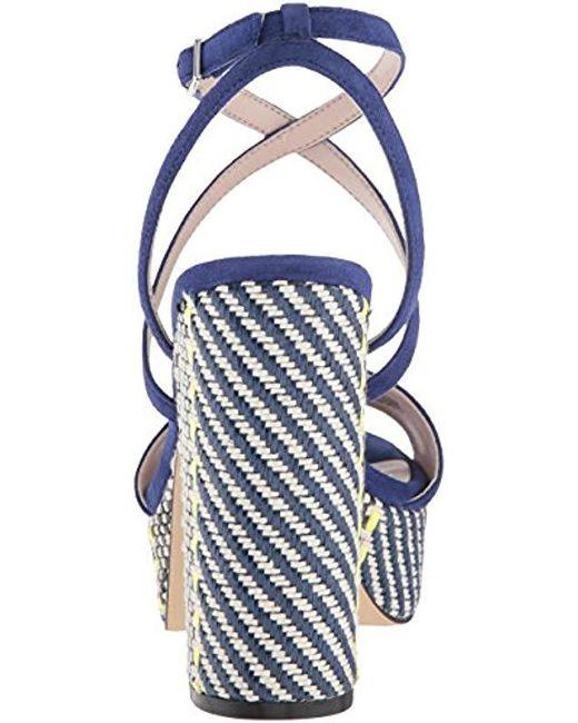 00793e80751f Lyst - Nine West Markando Block Heel Platform Sandal in Blue - Save 83%