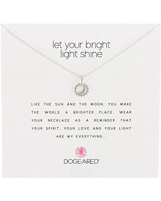 "Dogeared - Metallic Reminder Let Your Bright Light Shine Sun And Moon Pendant Necklace, 16.25"" - Lyst"