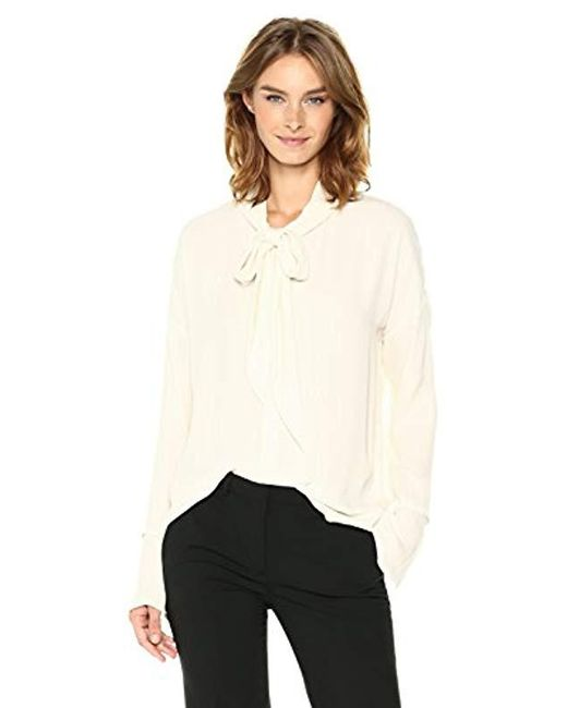 Theory - White Scarf Shirt B Top - Lyst
