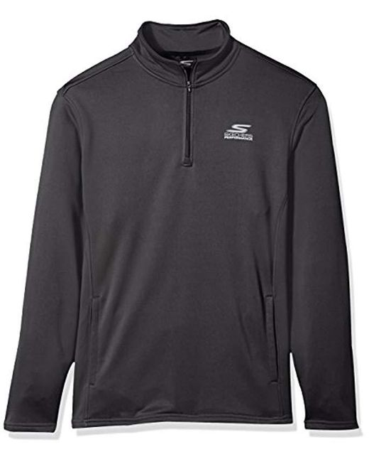 Skechers - Gray Go Walk Momentum 1/4 Zip Mock Neck Twill Back Fleece Jacket for Men - Lyst