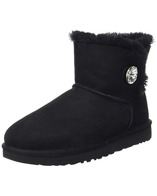 Ugg - Black Mini Bailey Button Bling Winter Boot - Lyst