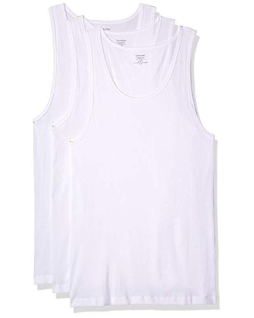 622490084891a Calvin Klein - White Cotton Classics 3 Pack Tank Tops for Men - Lyst ...