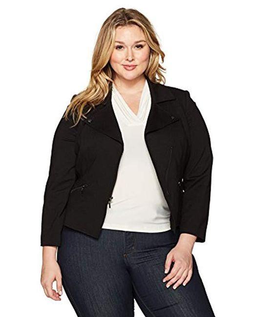 Kasper - Black Plus Size Compression Ponte Zipper Front Jacket - Lyst