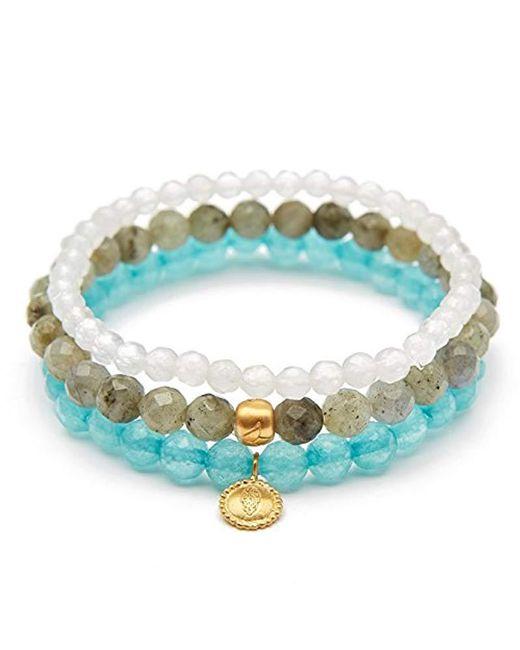 Satya Jewelry - Blue Labradorite Angelite White Jade Gold Hamsa Lotus Stretch Bracelet Set, Multi, One Size - Lyst