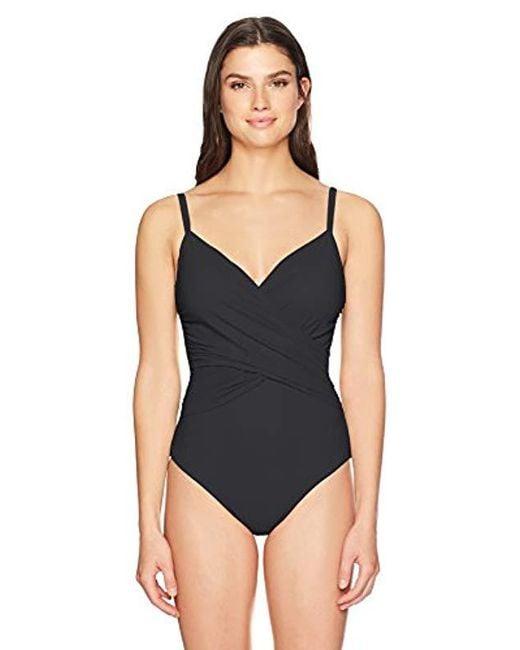 Gottex - Black Surplice One Piece Swimsuit - Lyst