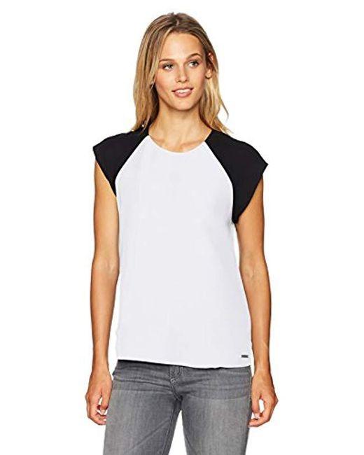Armani Exchange - White | Bck Tie Short Sleeve Blouse - Lyst