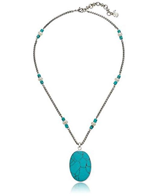 Lucky Brand - Metallic S Turquoise Pendant Necklace - Lyst