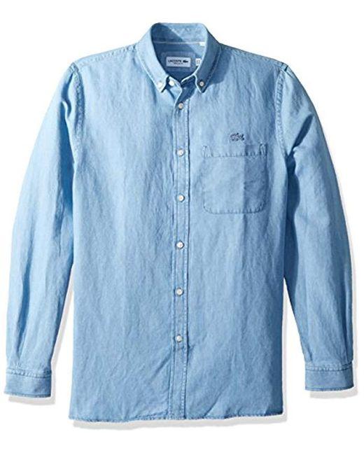 2d91752adac64d Lacoste - Blue Long Sleeve Cotten linen Button Down Collar Regular Fit  Woven Shirt