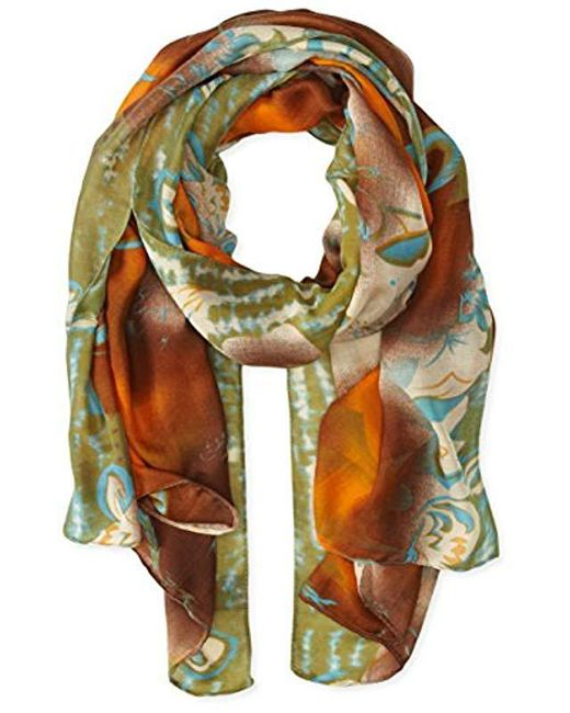 La Fiorentina - Multicolor Abstract Floral Print Scarf With Swirls - Lyst