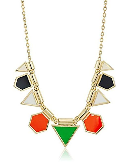 "French Connection - Metallic Polygon Frontal Fine Chain Necklace, 16"" + 3"" Extender - Lyst"