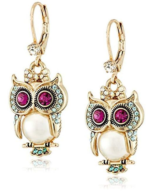 """Betsey Johnson - Multicolor """"pearl Critters"""" Owl Drop Earrings - Lyst"""